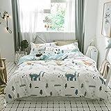 BuLuTu Dinosaur Print 3 Pieces Kids Bedding Sets Twin White for Boys Girls 100% Cotton,Premium Reversible Dino Forest Duvet C