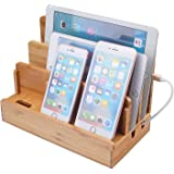 Bamboo Multi-Device Charging Dock Station,Desktop Organizer Stand Compatible iPhone Android iPod iPad Mac PC etc (Woodgrain)