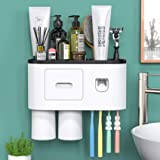 Bathroom Toothbrush Holder Wall Mounted Automatic Toothpaste Dispenser - Electric Toothbrush Holder with Toothpaste Squeezer,