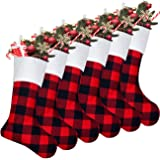 Senneny 6 Pack Christmas Stockings- 18 Inch Red Black Buffalo Plaid Christmas Stockings Fireplace Hanging Stockings for Famil