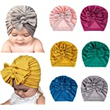 XINSHI Girls Baby Cotton Cloth Turban Kont Toddler Tabbit Ear Hat Kids Set Head Cap (Grey&Green&Navy&Pink&Yellow&Pink(6pcs))