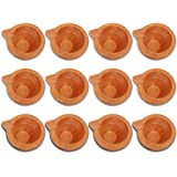Craftsman 12 Pc Set of Diwali Gift/Decorations Clay Diya.Handmade Natural Earthen Oil Lamp/Welcome Traditional Diyas with Cot