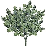 Supla Pack of 3 Faux Eucalyptus Leaves Spray Artificial Greenery Stems Fake Silver Dollar Eucalyptus Branches Plants in Dusty