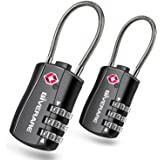 GIVERARE 2 PCS TSA Approved Luggage Locks, Combination Travel Cable Lock, Re-settable 3-Digit Padlocks with Alloy Body, Keyle
