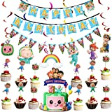 Cocomelon Birthday Party Decorations Set,Included Cocomelon Banner Hanging Swirls Pennant and Cake Toppers For cocomelon Kids