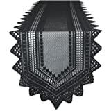"""DII 100% Polyester, Machine Washable, Crochet/Lace Table Runner, 14x72"""", Black"""