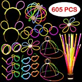Glow Stick Party Set - 605 Pieces - Includes Connectors to Create Necklaces Bracelets Glasses Heart Glasses Hats Headbands Ba