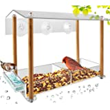 Bird Feeder, Strong Large Size with Suction Cups & Seed Tray, Separate Drinking-Water Sink & Wood Pillar Support, Weatherproo