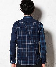 Crazy Pattern Indigo Buttondown Shirt 3211-166-1926: Navy
