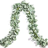 Miracliy 2 Pack Eucalyptus Garland, Lambs Ear Greeney Garland Faux Leaves Vine for Wedding Centerpiece Mantle Table Party Hom