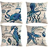 """7ColorRoom 4pack Ocean Theme Throw Pillow Covers 18""""×18"""" Sea Animals Pillowcases Cushion Covers Starfish-Seahorse-Octopus-Cra"""
