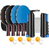 Fostoy Table Tennis Set, 4 Ping Pong Paddles with 8 Table Tennis Balls and Retractable Ping Pong Net, Ideal Indoor and Outdoo
