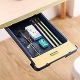 Under Table Drawer Organizer, Under Desk Pencil Tray Hidden Self-Adhesive Desktop Drawer, for Office Home School Kitchen Tabl