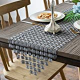 Valea Home Table Runners 12 x 72 Inch Glitter Clover Table Runner for Kitchen Wedding Bridal Shower Decorations,Silver Grey