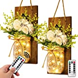 AerWo 2Pcs Mason Jar Sconces Wall Decor with LED Fairy Lights and Flowers, Handcrafted Hanging Mason Jar Sconce Rustic wall S