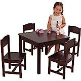 KidKraft 21453 Farmhouse Table & 4 Chair Set - Espresso, Espresso