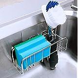 MANNOL Adhesive Kitchen Sponge Holder Sink Caddy, 2 in 1 Kitchen in Sink Sponge Holder and Sink Brush Holder, Stainless Steel