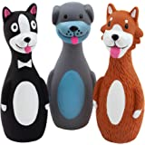 Chiwava 3 Pack 5.7 Inch Squeaky Latex Dog Toys Standing Stick Dog Dog Toy Puppy Fetch Interactive Play for Small Dogs