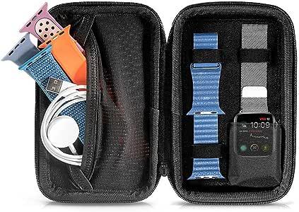 tomtoc Apple Watch (Series 6 / SE / 5 / 4 / 3) 旅行用ハードケース、 アップルウォッチ 44mmまで 対応 バッグ、 バンド5本 & 充電ケーブル & アクセサリー収納、スマートウォッチ iWatch ポーチ 、撥水加工、 グレー