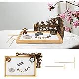 Zen Sand Table, Garden 11 X 7.5 X 1in Zen Sand Garden Kit Miniature Landscaped for Home for Office