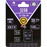 2 Pack 32GB MicroSD Cards with Adapter Pack - Amplim 32 GB Micro SD SDHC TF Memory Card for Nintendo, Android, Camera Drone,