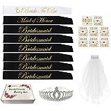 Bachelorette Party SASH Set:Bride to be sash,1 Maid of Honor sash,6 Bridesmaids sash,Bachelorette Sashes,Team Bride Sash,Tiar