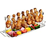 Chicken Leg Wing Rack 14 Slots Stainless Steel Metal Roaster Stand with Drip Tray for Smoker Grill or Oven, Dishwasher Safe,