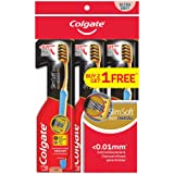 Colgate SlimSoft Toothbrush, Charcoal Gold, Extra Soft, 3ct