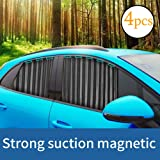 Ovege Car Window Shade -Car Side Window Sun Shade Car Curtain Pleated Silky UV Protection Privacy Baby Suction Magnetic (Blac