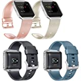 Vancle Replacement Bands Compatible with Fitbit Blaze 4 Pack (Rose Gold Gold Black Slate Large)