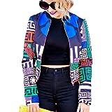 NORAME Women's Boho Floral Zip Up Baseball Jacket Long Sleeves Short Blazer Outfit