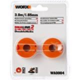 WORX WA0004 2-Pack Replacement Grass Trimmer Spool and Line 1.3m to Suit WG154E, WG157E, WG169E, WG163E