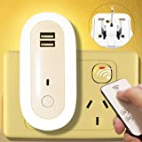 Night Lights Plug-In, Premium Baby Nursery LED Night Light for Kids, Bedside Lamp (Plug Into Wall) with USB Charger & Remote