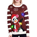 Camlinbo Light Up Women's Christmas Sweater, 3D Penguin Santa Hat Ugly Sweater Knit Holiday Funny Sweatshirt