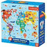 """Mudpuppy Map of the World Jumbo Puzzle, 25 Pieces, 22"""" x 22"""" – Map Jigsaw Puzzle for Kids with 25 Oversized Pieces, Learning"""