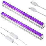 Sunmerit 2 Pack UV LED Black Light, 10W, USB Blacklight Tube for Neon Glow Poster, Portable Ultraviolet Light, Fluorescent La