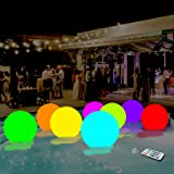 AUBESTKER Pool Toys 13 Colors Glow Ball 16'' Inflatable LED Light Up Beach Ball with Remote, Great for Beach Pool Party Outdo