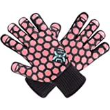 JH Heat Resistant Oven Mitts: EN407 Certified 932 °F, 2 Layers Silicone Coating, Black Shell with Coral Coating, BBQ & Oven G