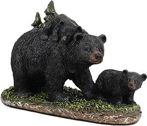 Ebros 7.75インチ ロング リアルな黒 ママ 熊 ブタを裏打ち パインツリーの像 素朴な野生動物 森 ウェスタン キャビンデコ ベア 家族 フィギュア
