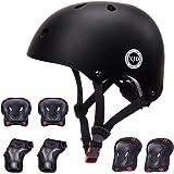 XJD ヘルメット こども用 キッズプロテクターセット 調節可能 軽量 高剛性 通気性 スケボー サイクリング 保護用 子供 自転車 プロテクター 巾着袋付き