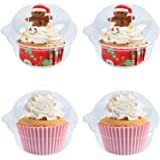 50 Pack Single Individual Cupcake Boxes, Disposable Clear Plastic Dome Cupcake Containers for Sandwich Hamburgers Fruit Salad
