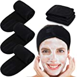 Spa Facial Headband Whaline Head Wrap Terry Cloth Headband 4 Counts Stretch Towel with Magic Tape for Bath, Makeup and Sport