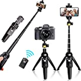 YUNTENG® Bluetooth Selfie Stick Tripod, Extendable Foldable Aluminum Selfie Stick with Detachable Wireless Remote for iPhone,