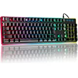 ゲーミングキーボード 有線 106キー日本語配列 25キー防衝突 PC用キーボード RGB1680万色 6種類LED色変…