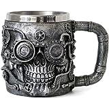 Steampunk Skull Beer Coffee Mug - Mechanical Gearwork Pipeline Beer Stein Tankard - Viking Drinking Stainless Steel Cup 14oz