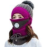 HUAMULAN 2 Piece Set Women Skull Beanie Snow Ski Hat Neck Circle Scarf Balaclavas Winter Knit Fleece Cap Cold Weather