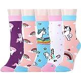 5 Pack Kids Girls Colorful Fun Novelty Cartoon Rainbow Unicorn Kitty Cat Cotton Crew Casual Socks Stockings