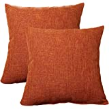 """ALHXF 2 Pack Burlap Linen Throw Pillow Cover 16""""X16"""" Home Decorative Solid Square Pillowcase, Thick, Luxury, Handmade with In"""