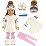 Barwa Doll White Sweater Skirt with Hat Snow Boots and Pink Stockings Tights for 18 Inch American Girl Xmas Gift