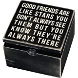 Primitives by Kathy Classic Hinged Wood Box, 4 x 4 x 7.75-Inches, Good Friends are Like Stars